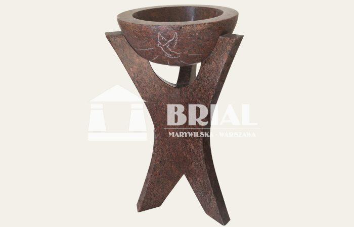 Kropielnica z czerwonego granitu, chrzcielnica z granitu, granit do obiektu sakralnego, granit do kościoła, granit w kościele