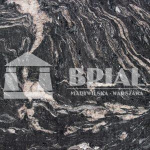 czarny granit nablat kuchenny, Barroco w strukturze satyna, Barroco w strukturze satyna - ekskluzywny czarny granit na blat kuchenny - wzorzysty granit